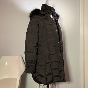 Black Betsy Johnson Down Puffer Coat with Hood